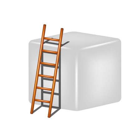 clamber: Grey cube and wooden ladder