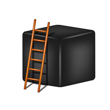 clamber: Black cube and wooden ladder Illustration
