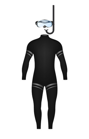 snorkel: Diving suit and diving goggles with snorkel