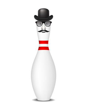 pin stripe: Bowling pin with bowler hat, mustache and glasses