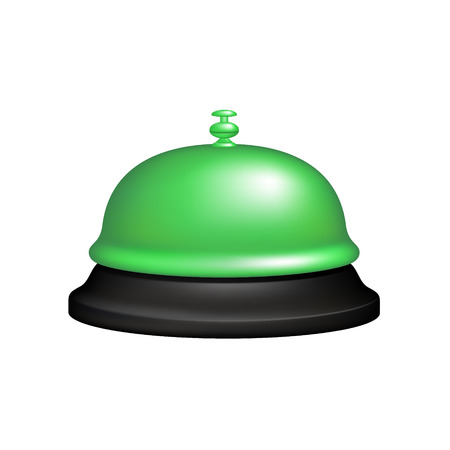 alertness: Service bell in black and green design Illustration
