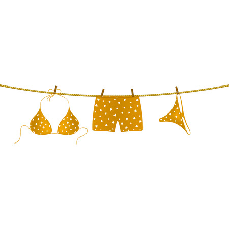 boxer shorts: Bikini and boxer shorts hanging on rope Illustration