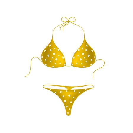 bathe: Orange bikini suit with white dots