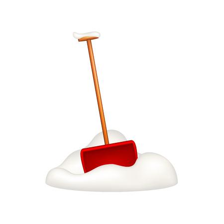 shovels: Snow shovel standing in snow