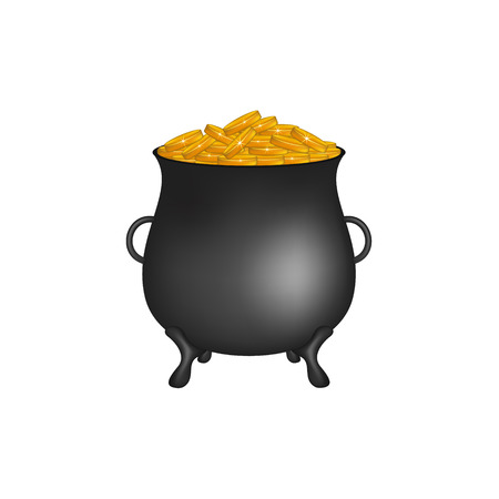 Black pot with golden money coins Illustration
