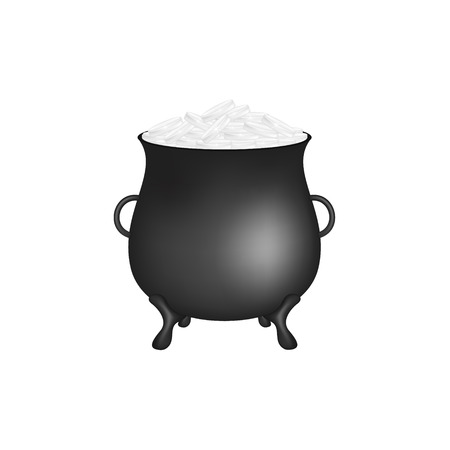 Black pot with silver money coins