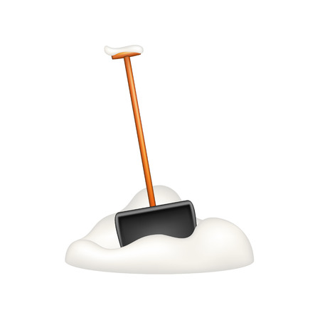 shovels: Black snow shovel standing in snow Illustration
