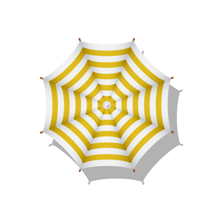 beach umbrella: Orange and white striped beach umbrella Illustration