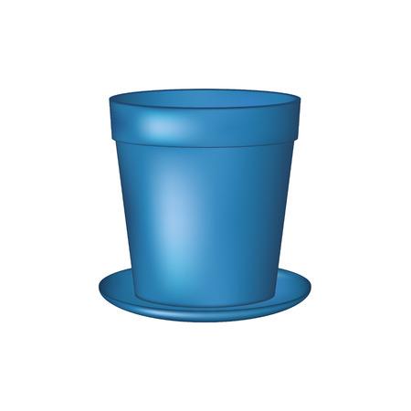 flowerpot: Empty flowerpot in blue design Illustration