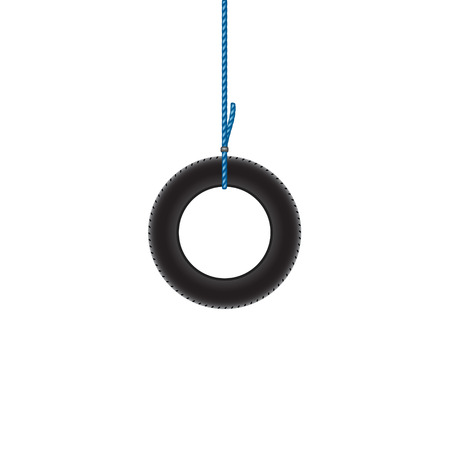 car tire: Car tire hanging on blue rope