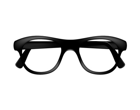 corrective lenses: Retro glasses frame in dark design without lenses Illustration