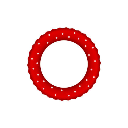 rescue circle: Red pool ring with white dots