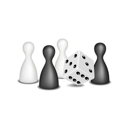 brettspiel: Brettspielfiguren und W�rfel in schwarz und wei� Design Illustration