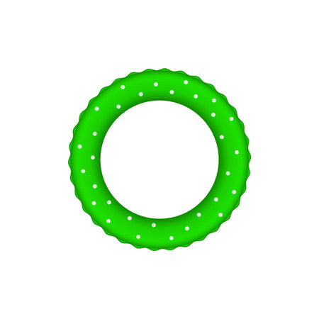 bouy: Green pool ring with white dots