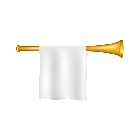 fanfare: Trumpet with white flag