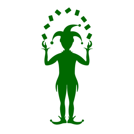 Green silhouette of Joker playing with cards Illustration