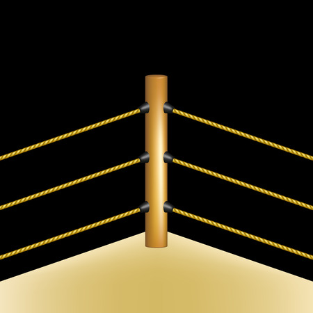 boxing ring: Boxing ring with brown ropes on black background