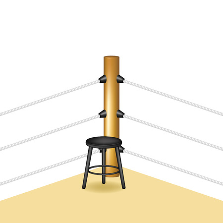 stools: Boxing corner with wooden stool Illustration