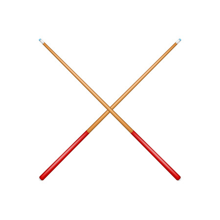 cues: Two crossed billiard cues in retro design with red handle Illustration