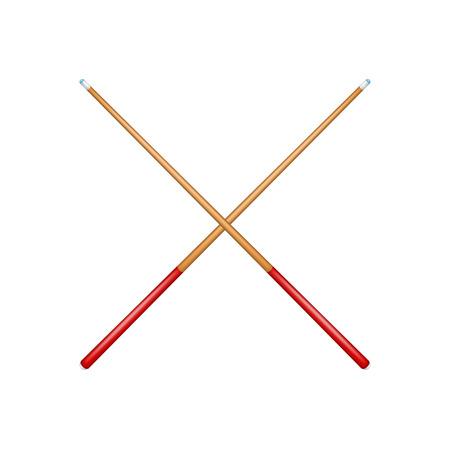 Einsatzzeichen: Zwei gekreuzte Billardqueues im Retro-Design mit rotem Griff Illustration