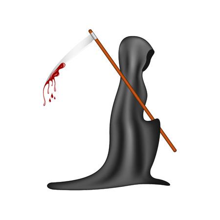 grim: Grim reaper with bloody scythe Illustration