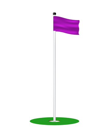 course of action: Golf hole with purple flag Illustration