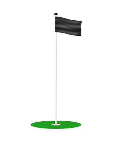 golf hole: Golf hole with black flag Illustration