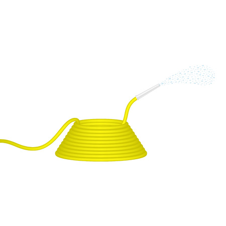 gush: Garden hose in yellow design squirts water