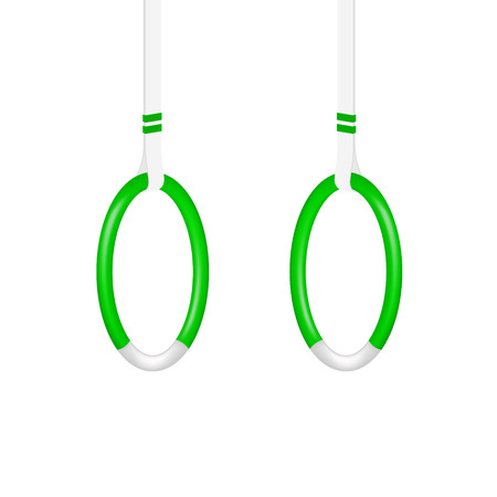 gymnasium: Gymnastic rings in green and white design