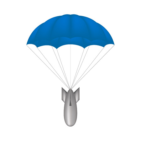 aerial bomb: Bomb at blue parachute