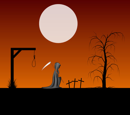 gallows: Spooky background with grim reaper with scythe in a cemetery Illustration