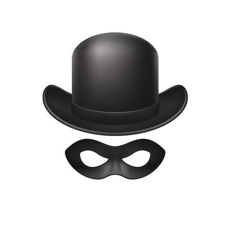 bowler hat: Bowler hat and eye mask in black design