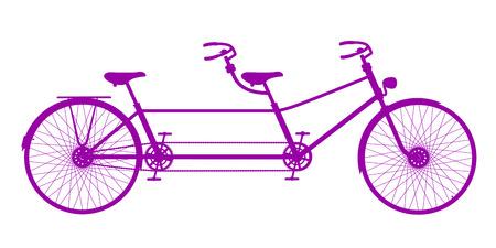 tandem: Retro tandem bicycle in purple design