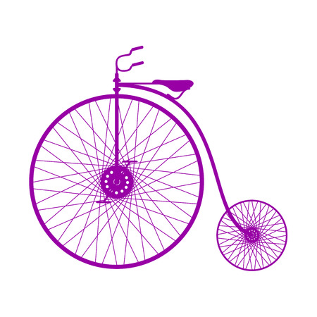spoke: Silhouette of vintage bicycle in purple design Illustration