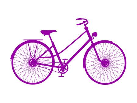 spoke: Silhouette of retro bicycle in purple design