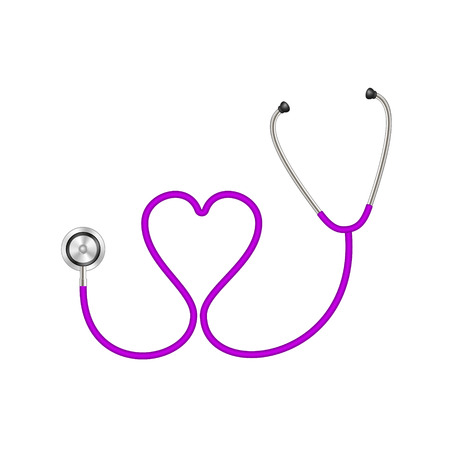 medical exam: Stethoscope in shape of heart in purple design Illustration