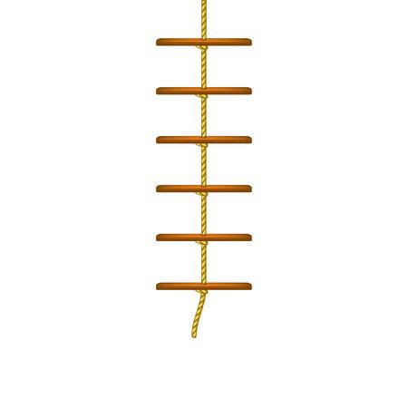 rope ladder: Wooden rope ladder in brown design Illustration