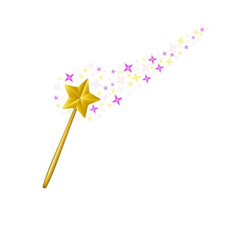 magic wand: Magic wand with stream of stars