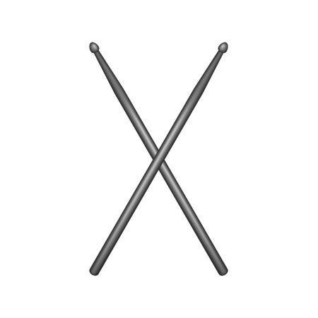 Crossed pair of black wooden drumsticks