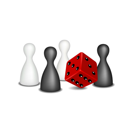 red dice: Board game figures in black and white design and red dice