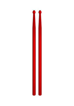 drumsticks: Pair of wooden drumsticks in red design