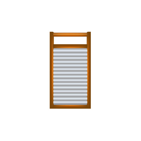 washboard: Wooden washboard in brown and silver design Illustration