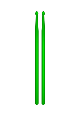 drumsticks: Pair of wooden drumsticks in green design