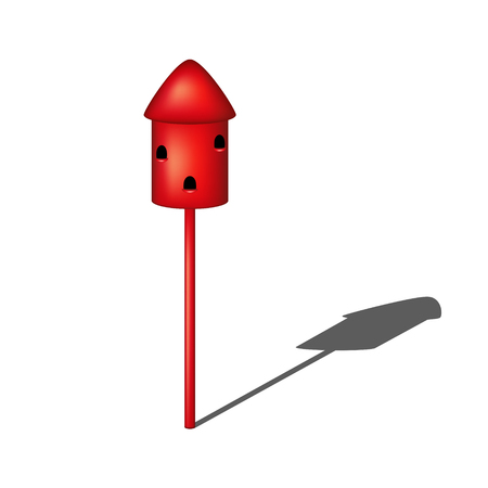 pigeon holes: Dovecote in red design with shadow