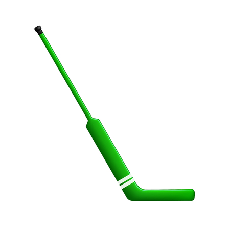competitive sport: Hockey stick for goalie in green design Illustration