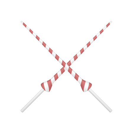 enemies: Two crossed lances in red and white design