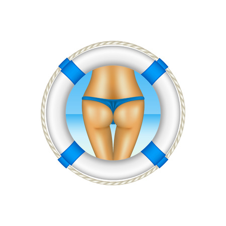 bum: Life buoy with sexy bum of woman in blue bikini as beach concept