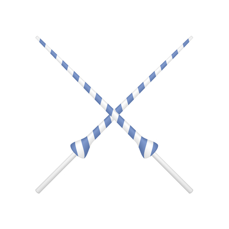 enemies: Two crossed lances in blue and white design