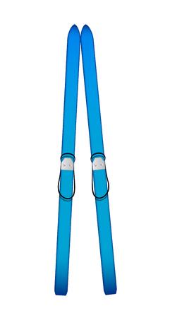 blue design: Old wooden alpine skis in blue design Illustration