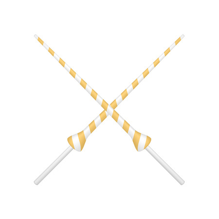 joust: Two crossed lances in orange and white design